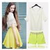 PreOrderไซส์ใหญ่ - เซตคู่เสื้อกระโปรงแฟชั่น ไซส์ใหญ่ เสื้อสีขาวแขนจั้มลายตาราง กระโปรงสั้นสีเหลือง ผ้าฝ้าย+โพลิเอสเตอร์