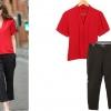 PreOrderคนอ้วน - เซตคู่ คนอ้วน ไซส์ใหญ่ เสื้อเชิ้ตแฟชั่นแขนสั้นคอวี สีแดง+กางเกงขายาวสีดำเข้าชุด ผ้าฝ้ายโพลิเอสเตอร์