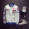 Pre Order เสื้อแจ็คเก็ตเบสบอลแนวฮาราจุกุ แต่งลายขวาง ดีไซน์เท่ห์ สไตล์เกาหลี