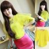 Amy ++สินค้าพร้อมส่งค่ะ++เสื้อคอกลมเกาหลี ผ้าชีฟอง ดีไซด์แขนฟอง สีสรรค์สีลูกอมหวาน - สี