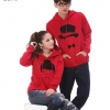 Pre Order เสื้อกันหนาวคู่รักแฟชั่นเกาหลี แขนยาว มีฮู้ด พิมพ์ลายการ์ตูน สีแดง