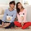 Pre Order ชุดนอนคู่รักสไตล์เกาหลี เสื้อแขนยาวคอกลมลายขวาง พิมพ์ลาย+กางเกงขายาว