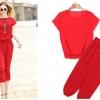 PreOrderไซส์ใหญ่ - ชุดเซตคู่เสื้อ กางเกง ผ้าชีฟองยืด เสื้อ+กางเกงเข้าเซต สีแดง