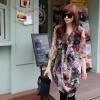 Pre Order - เสื้อตัวยาวแฟชั่นเกาหลี ผ้าชีฟองพิมพ์ลาย แบบสวม จั้มปลายแขนเสื้อ สีม่วง-น้ำตาล *ไม่มีซับใน