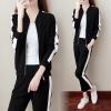 Pre Order ชุดวอร์มแฟชั่นเกาหลี เสื้อแจ็คเก็ตแขนยาว+กางเกงขา9ส่วน ดีไซน์สปอร์ต สีตามรูป