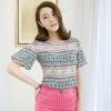 PreOrderไซส์ใหญ่ - เสื้อแฟชั่นเกาหลี ไซส์ใหญ่ คนอ้วน ผ้าฝ้าย ไม่ยืด เสื้อนุ่ม สี : ชมพู / เขียว