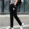 **พร้อมส่ง**กางเกงวอร์มขายาว สไตล์เกาหลี ปักลายคลาสสิก สีดำ XL