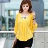 PreOrderไซส์ใหญ่ - เสื้อแฟชั่นเกาหลี ไซส์ใหญ่ คนอ้วน ผ้าชีฟอง คอกลม แขนห้าส่วน สี : ดำ / เหลือง / ชมพู