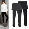 PreOrder - กางเกง-เลคกิ้งกันหนาวแฟชั่น ผ้าฝ้ายโพลิเอสเตอร์ ข้างในเป็นผ้ากำมะหยี่เก็บความร้อน สี : เทา / ดำ