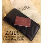 กระเป๋าสตางค์ ZARA หนังสีดำ