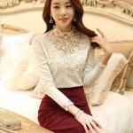 PreOrderไซส์ใหญ่ - เสื้อแฟชั่นเกาหลี ไซส์ใหญ่-คนอ้วน ผ้ายืด คอแต่งลูกไม้ แขนยาว หรู ๆ สี : ขาว / ดำ / แดง