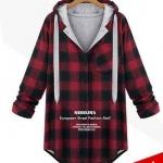 PreOrderไซส์ใหญ่ - เสื้อกันหนาวไซส์ใหญ่ คนอ้วน มีHood ลายสก๊อต 2 สี สี : แดง / เทา