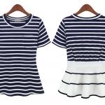 (พรีออเดอร์) เสื้อยือแฟชั่น ลายขวาง ปลายเสื้อบานออกเล็กน้อยเป็นดีไซด์ค่า