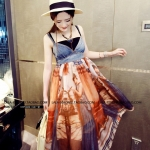 Pre Order - เดรสแฟชั่นเกาหลี ผ้าชีฟองพิมพ์ลาย ส่วนหน้าอกเป็นผ้ายีนส์สายเดี่ยว สี : สีฟ้า / สีส้ม