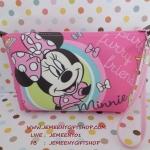 กระเป๋าเครื่องสำอางศ์ กระเป๋าเอนกประสงศ์ มินนี่เม้าส์ Minnie mouse ขนาด 16.5 * 12 ซม ด้านบนมีช่องซิป