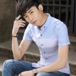 Pre Order เสื้อเชิ้ตผู้ชายแนวเกาหลี แขนสั้นคอปก แต่งดีเทลคลาสสิค สีตามรูป