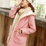 Pre Order เสื้อแจ็คเก็ตผ้าขนสัตว์แนวเกาหลี เสื้อแขนยาวมี HOOD แต่งกระเป๋า2ข้าง ลุคสาวหวาน มี2สี