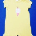 ฺBDS-330 (12M,24M) ชุดบอดี้สูท Baby Boots สีเหลือง ปักลายไอศกรีมสีขาว-ชมพู ระบายรอบปลายขา
