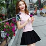 Pre Order ชุดวอร์มเกาหลี เสื้อแขนสั้นพิมพ์ลายดอกไม้+กระโปรงสั้น มี3สี