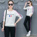 Pre Order ชุดออกกำลังกายแฟชั่นเกาหลี เสื้อแขนยาวแต่งแถบข้าง+กางเกงขายาว มี3สี