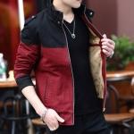 Pre Order เสื้อแจ็คเก็ตกันหนาวแขนยาว บุกำมะหยี่ด้านใน แต่งสีทูโทน แนวเกาหลี มี4สี