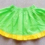 GSK-058 (18M) กระโปรงผ้าทอสีเขียวสด ระบายผ้าสีเหลืองจุดขาว พร้อมผ้าซับใน