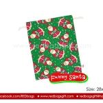 ถุงผ้าคริสต์มาส (Christmas Bag) ลายซานตาคลอส สีเขียว Size L
