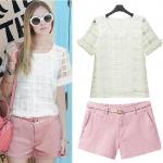PreOrderไซส์ใหญ่ - เซตคู่เสื้อกางเกงแฟชั่นไซส์ใหญ่ คนอ้วน เสื้อคอกลมลายตารางสี่เหลี่ยม กางเกงขาสั้นสีชมพู
