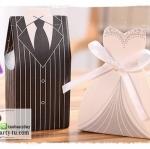 กล่องของชำร่วยงานแต่งงาน งานมงคลต่างๆ รูปชุดเจ้าบ่าวและชุดเจ้าสาว ขายเป็นคู่ค่ะ
