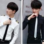 Pre Order เสื้อเชิ้ตแขนยาวสุดเท่ห์ สไตล์เครื่องแบบนักบินแนวเกาหลี มี 2 สี