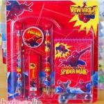 ชุดดินสอปากกา สไปเดอร์แมน Spiderman ในชุดประกอบด้วย ปากกา 1 ด้าม ดินสอกด 1 แท่ง ยางลบ 1 ก้อน ใส้ดินสอกด 1 สมุดโน็ต 1 เล่ม