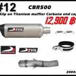 ท่อ Honda CBR500/CB500F/CB500X Devil Slip on Titanium muffler carbone end cap #12