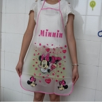 ผ้ากันเปื้อนกันน้ำ มินนี่เม้าส์ Minnie mouse ขนาด 70cm * 49.8cm ลายมินนี่เม้าส์ วัสดุเป็น PE กันน้ำ