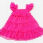 GD-184 (3M) ชุดกระโปรงผ้าชีฟอง Starting Out (Mini Skirt) สีชมพูบานเย็น ติดโบว์หน้า จับสม็อดึงยางหลัง