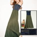 (พรีออเดอร์) เดรสแฟชั่นเกาหลี กระโปรงยาว ผ้ายีนส์เกาะอก แต่งซิบและกระเป๋าที่หน้าอก