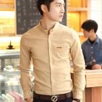 Pre Order เสื้อเชิ้ตผู้ชายแนวเกาหลี แขนยาวคอตั้ง ทรงเข้ารูป คอเสื้อกับกระเป๋าแต่งขอบหนัง มี5สี
