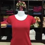 """เสื้อยืดคอกลม สีแดงเข้ม size """"M"""""""