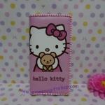 กระเป๋าสตางศ์ใบยาว คิตตี้ kitty#15 ขนาด 7.5 นิ้ว x 4 นิ้ว ลายคิตตี้หมี พื้นสีชมพูอ่อน ซิปรอบ