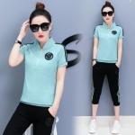 Pre Order ชุดวอร์มเกาหลี เสื้อแขนสั้นแต่งลายหน้าอก+กางเกงแถบข้างขาสามส่วน มี4สี