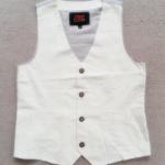 ฺBSH-254 (10Y,12Y) เสื้อกั๊กผ้าทอ Jean Baptiste Ebraed ด้านหน้า-สายคาดหลังสีเท่าอ่อน ส่วนด้านหลัง-ซับในสีเทาเข้ม