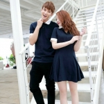 Pre Order ชุดคู่รักเกาหลี สี Deep Blue ชายเป็นเสื้อโปโลแขนสั้น/หญิงเป็นชุดเดรส กระโปรงบาน
