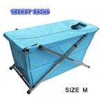 อ่างอาบน้ำทรงสี่เหลี่ยมพับได้ size M สีฟ้าลายจุด