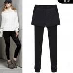 PreOrderคนอ้วน - กางเกง-เลคกิ้งกันหนาวแฟชั่น ผ้าฝ้ายโพลิเอสเตอร์ ข้างในเป็นผ้ากำมะหยี่เก็บความร้อน สี : เทา / ดำ