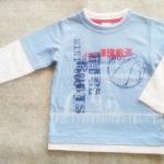 ฺBSH-247 (18-24M) เสื้อ Mini Boots สีฟ้าลาย Mini Boots Est.1987 ตัดต่อแขน-คอ-ชายเสื้อสีขาว