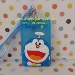 ซองใส่บัตรต่างๆ พร้อมสายคล้องคอ โดราเอมอน Doraemon ขนาด 11 ซม. * 7.5 ซม. ลายโดราเอมอน สีฟ้า