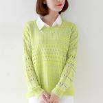 Pre Order - เสื้อกันหนาวแฟชั่น เป็นเซต 2 ชิ้น เสื้อกันหนาวถักนิตติ้งแบบบาง และเสื้อเชิ้ตชีฟองแขนกุดสีขาว สี : สีเขียว / สีเทาเข้ม