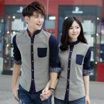 Pre Order ชุดคู่รักเกาหลี เสื้อเชิ้ตแขนยาว แต่งแถบกระดุม ขอบแขนเสื้อลายสก็อต <มี3สี>
