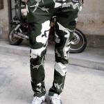 Pre Order กางเกงวอร์มลายทหารแนวเกาหลี แต่งกระเป๋าสองข้าง มีเชือกผูกเอว มี2สี