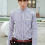 Pre Order เสื้อเชิ้ตผู้ชายเกาหลี แขนยาวคอปก ลายทาง กระเป๋าแต่งขอบหนัง MUT สีตามรูป