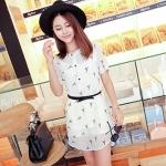 Pre Order - เสื้อแฟชั่นเกาหลี ผ้าชีฟองพิมพ์ลาย ใส่สบาย น่ารัก มีเสื้อตัวข้างในด้วย สี : สีขาว / สีดำลายดาว / สีดำลายตาราง
